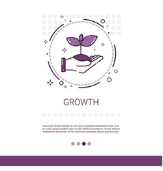 Hand with plant growth banner with copy space vector