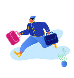 Hotel hospitality service concept bell boy vector