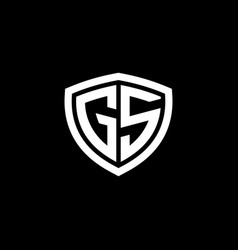 initial letter g s logo template with shield icon vector image