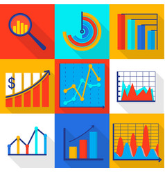 investment icons set flat style vector image