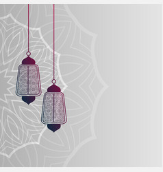 Islamic lamps decoration background design vector