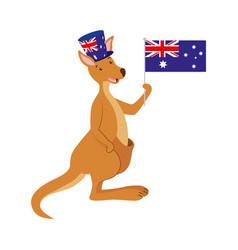 kangaroo with hat australian flag celebration vector image