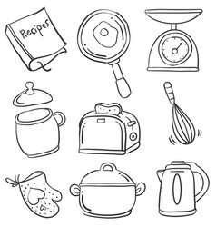 Kitchen set of doodles vector