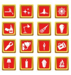 Light source symbols icons set red vector