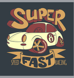 little super car t-shirt design and other uses vector image