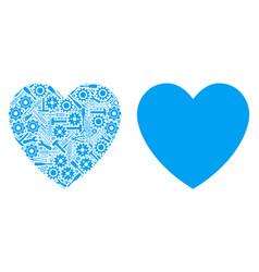 Love heart collage of repair tools vector