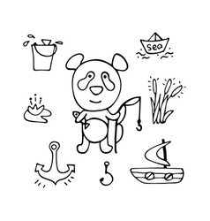 lovely panda the fisherman with a rod and fish vector image