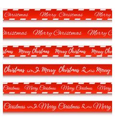 Merry christmas banners set warning tapes vector