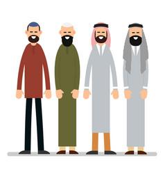 muslim man group muslim or arab man stand in the vector image