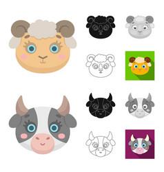 muzzles of animals cartoonblackflatmonochrome vector image