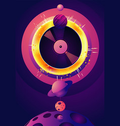 Night party music poster with space object and vector