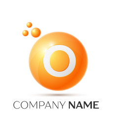 O letter splash orange dots and circle bubble vector