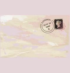Old stamped envelope background vector