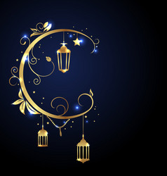 ornamental islamic design for ramadan kareem moon vector image
