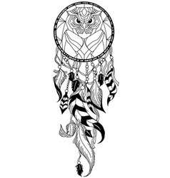 Owl dreamcatcher black and white vector