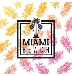 Palm tree and leaf icon Miami florida design vector