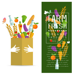Paper package with fresh healthy produce vector