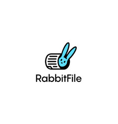 rabbit and file or document logo concept vector image