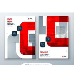 Red catalog design a4 cover template for brochure vector
