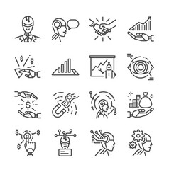 Robo advisor line icon set vector