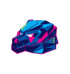Robotic bear head in futuristuc color style vector