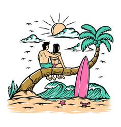 romantic on beach vector image
