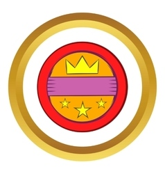 Round badge with crown and stars icon vector