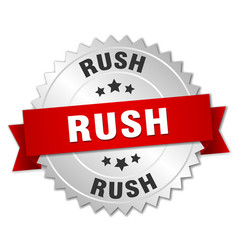 Rush 3d silver badge with red ribbon vector