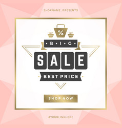 Sale banner template design with gold frame vector
