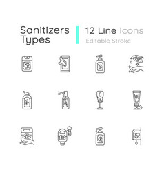 Sanitizer types linear icons set vector