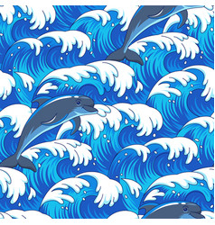 Sea and dolphins pattern vector