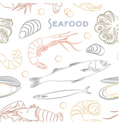 seafood set pattern vector image