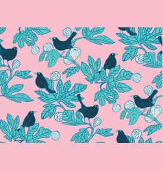 seamless pattern background with cute birds vector image