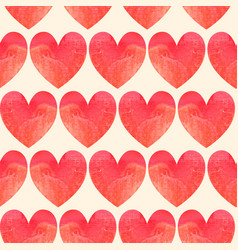 seamless pattern made of watercolor hearts vector image