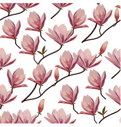 seamless pattern with blossom brunches magnolia vector image