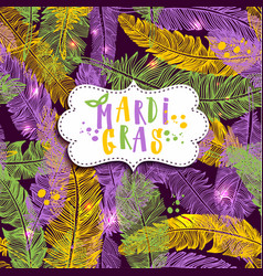 Seamless pattern with hand drawn mardi gras on vector