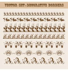 set of floral decorative borders vector image