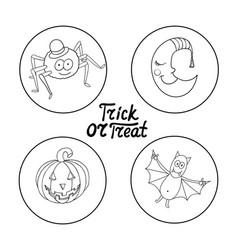 Set of halloween characters spider in hat vector
