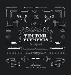 Set of vintage retro linear thin line art deco vector