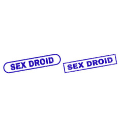 Sex droid blue rectangle stamp seal with scratched vector