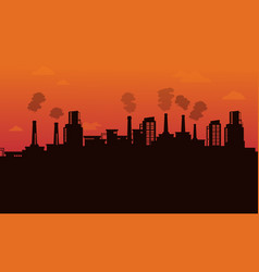 silhouette of pollution industry backgroud vector image vector image