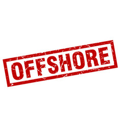 Square grunge red offshore stamp vector