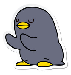 Sticker of a quirky hand drawn cartoon penguin vector