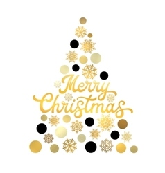 Stylized Christmas tree isolated with lettering vector image