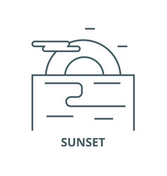 sunset evening sea line icon linear vector image