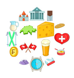 switzerland travel icons set cartoon style vector image