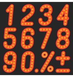 The numbers of lamps on a black background vector