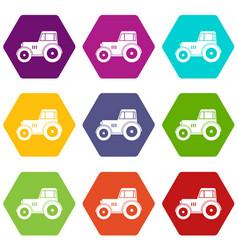 tractor icon set color hexahedron vector image
