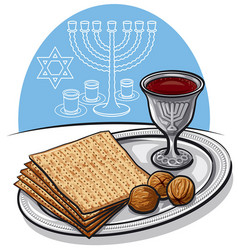 Traditional jewish matzoh in passover vector