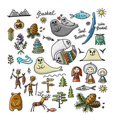 Travel icons set baikal russia sketch for your vector